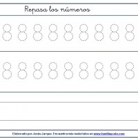 Fichas para escribir números, el ocho con puntitos