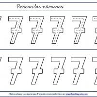 Fichas para escribir números, el siete en tamaño medio