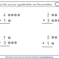 suma con puntitos números menores de cinco
