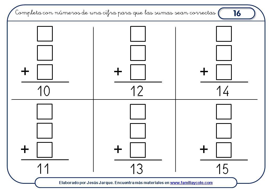 Actividades de sumas para imprimir divergentes tres cifras