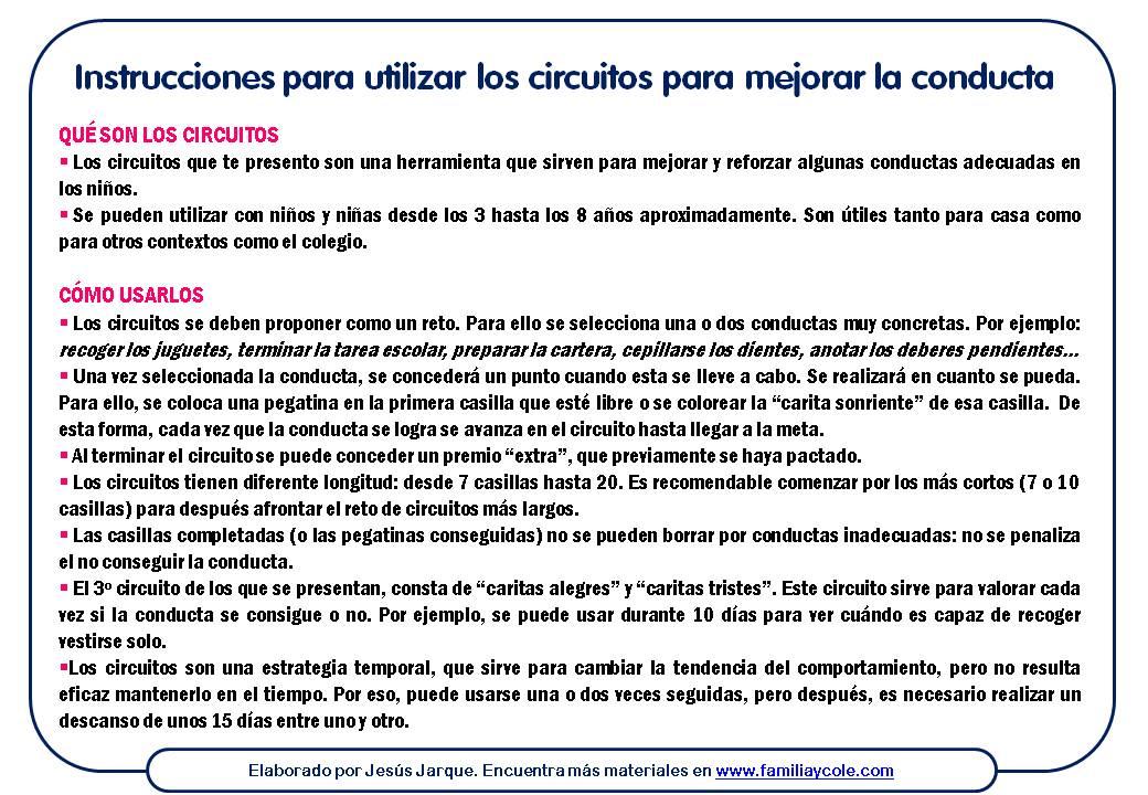 Instrucciones para utilizar los circuito de pegatinas para mejorar la conducta