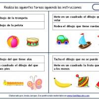 Fichas de comprensión de instrucciones escritas para niños