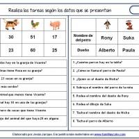 Fichas de comprensión de instrucciones escritas, acciones sobre datos