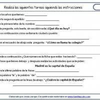 Fichas de comprensión de instrucciones escritas, instrucciones puras