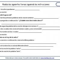 Fichas de comprensión de instrucciones escritas, instrucciones escritas puras