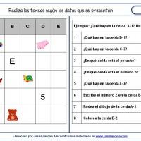 Fichas de comprensión de instrucciones escritas, gráfica cartesiana