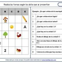 Fichas de comprensión de instrucciones escritas, gráfica