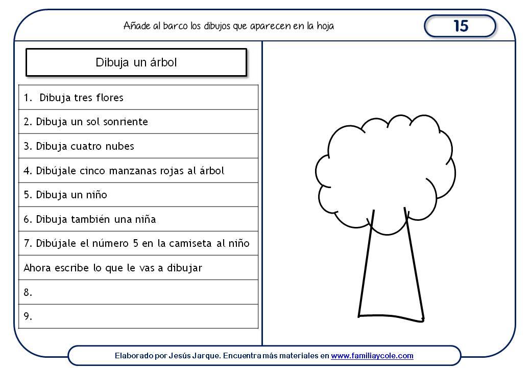 Fichas de comprensión de instrucciones escritas, dibujo de un árbol