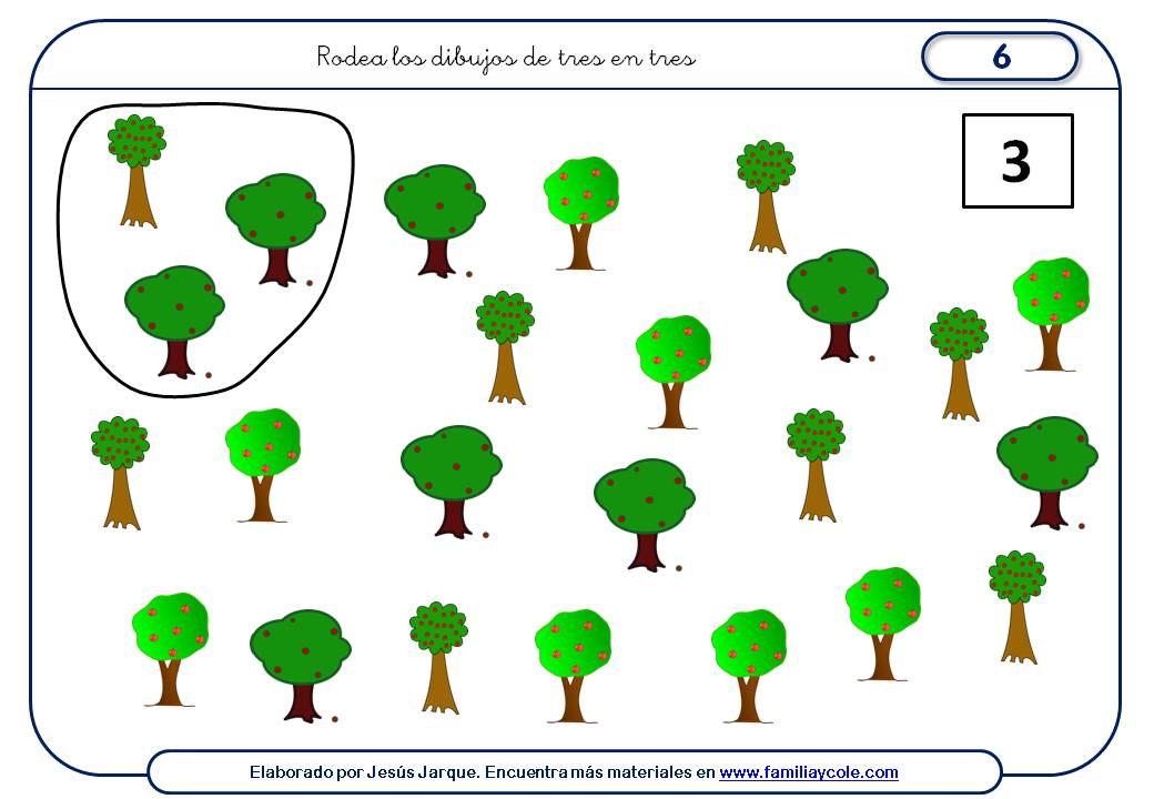Fichas para aprender a contar de tres en tres, elementos diferentes
