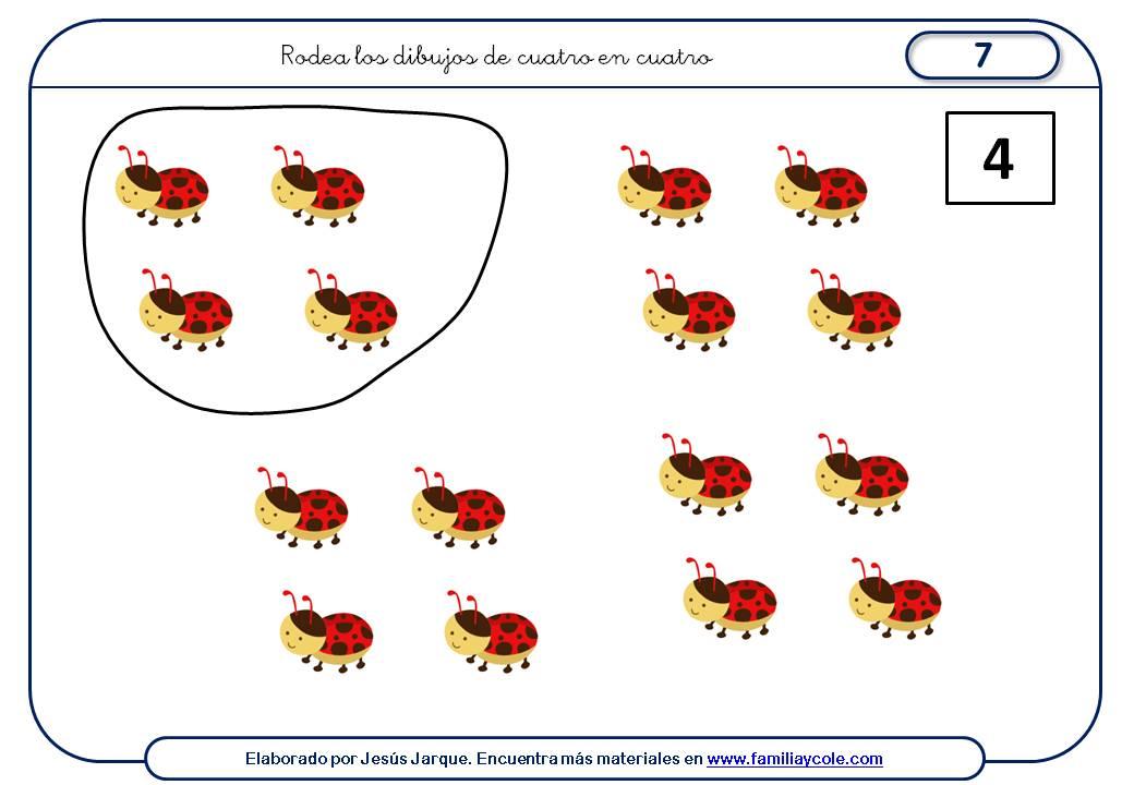 Fichas para aprender a contar de cuatro en cuatro