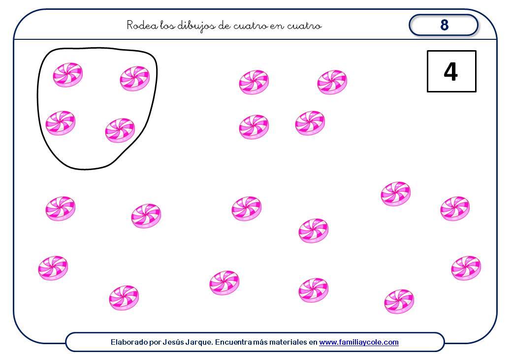 Fichas para aprender a contar de cuatro en cuatro muchos elementos