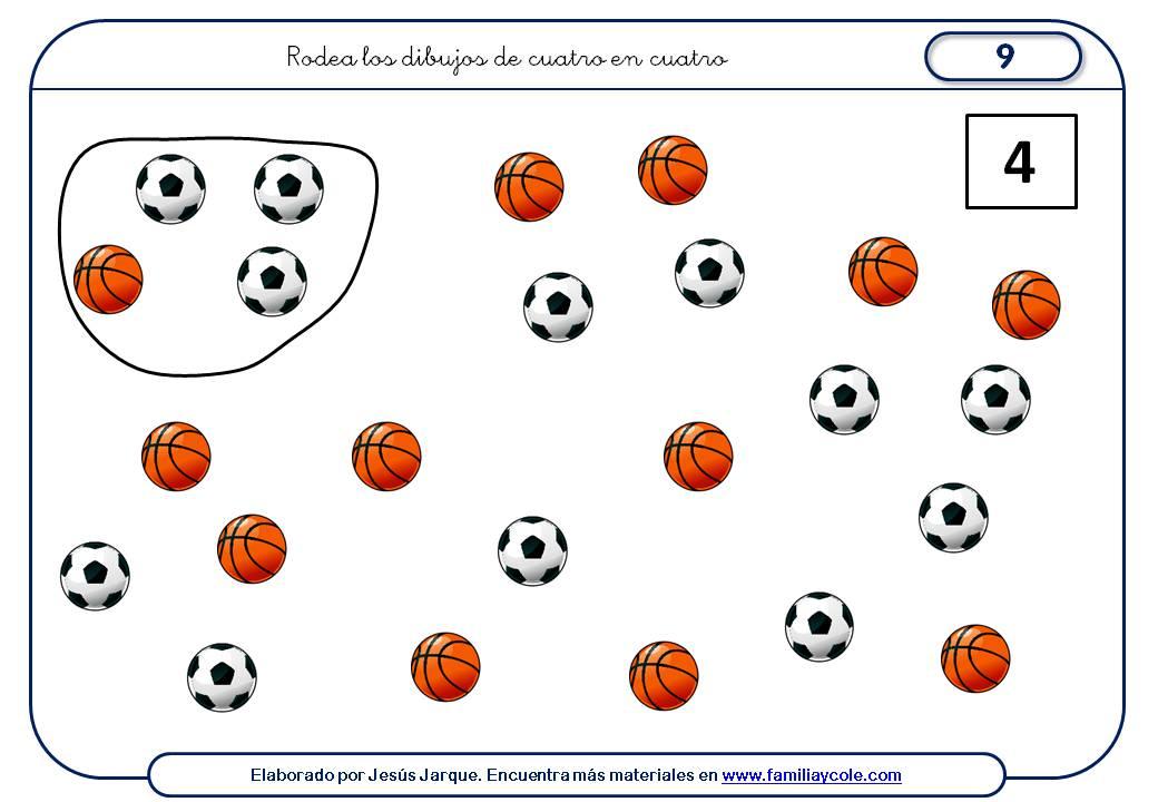 Fichas para aprender a contar de cuatro en cuatro elementos diferentes