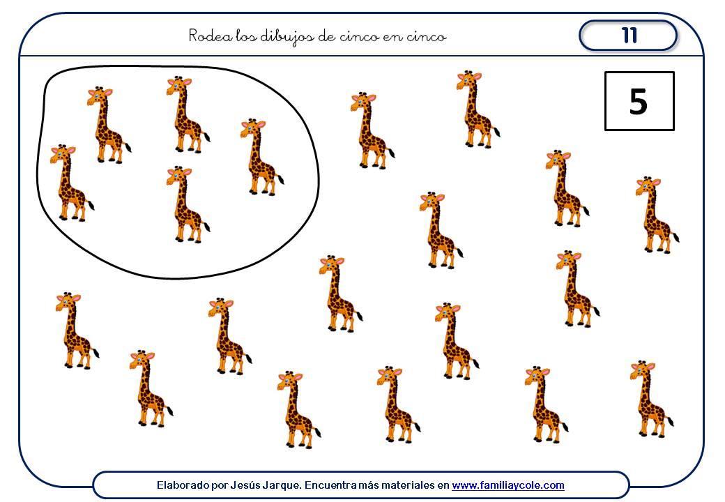 Fichas para aprender a contar de cinco en cinco muchos elementos