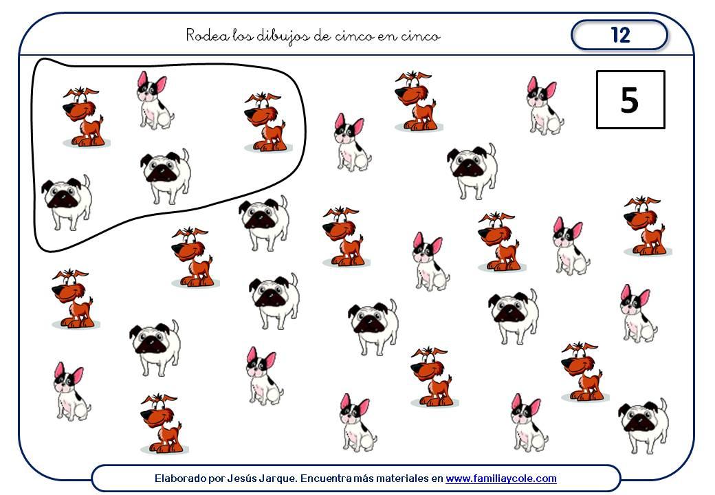 Fichas para aprender a contar de cinco en cinco, dibujos diferentes