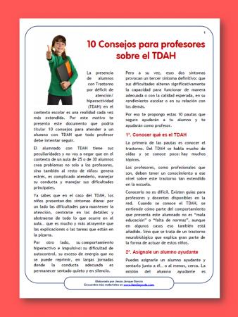 10 Consejos sobre TDAH para profesores, documento para imprimir