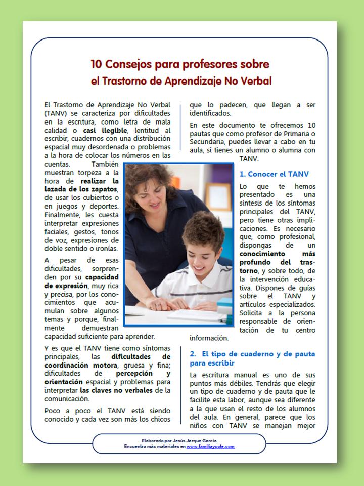 Consejos para profesores sobre el TANV, el trastorno de aprendizaje no verbal