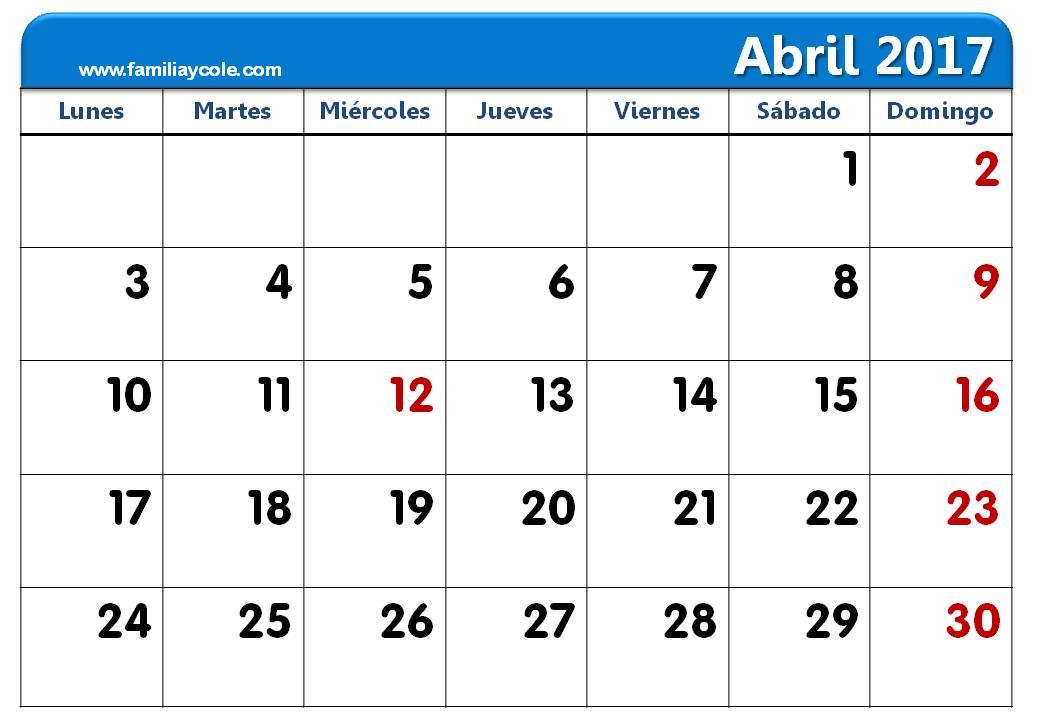 calendario 2017 para imprimir mes de abril