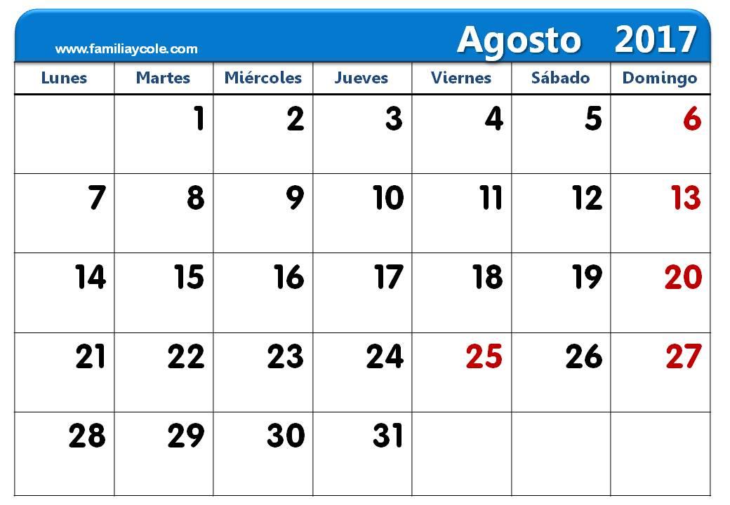 Calendario 2017 para imprimir mes de agosto 2017