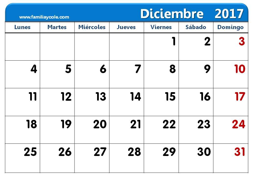 Calendario 2017 para imprimir mes de diciembre 2017