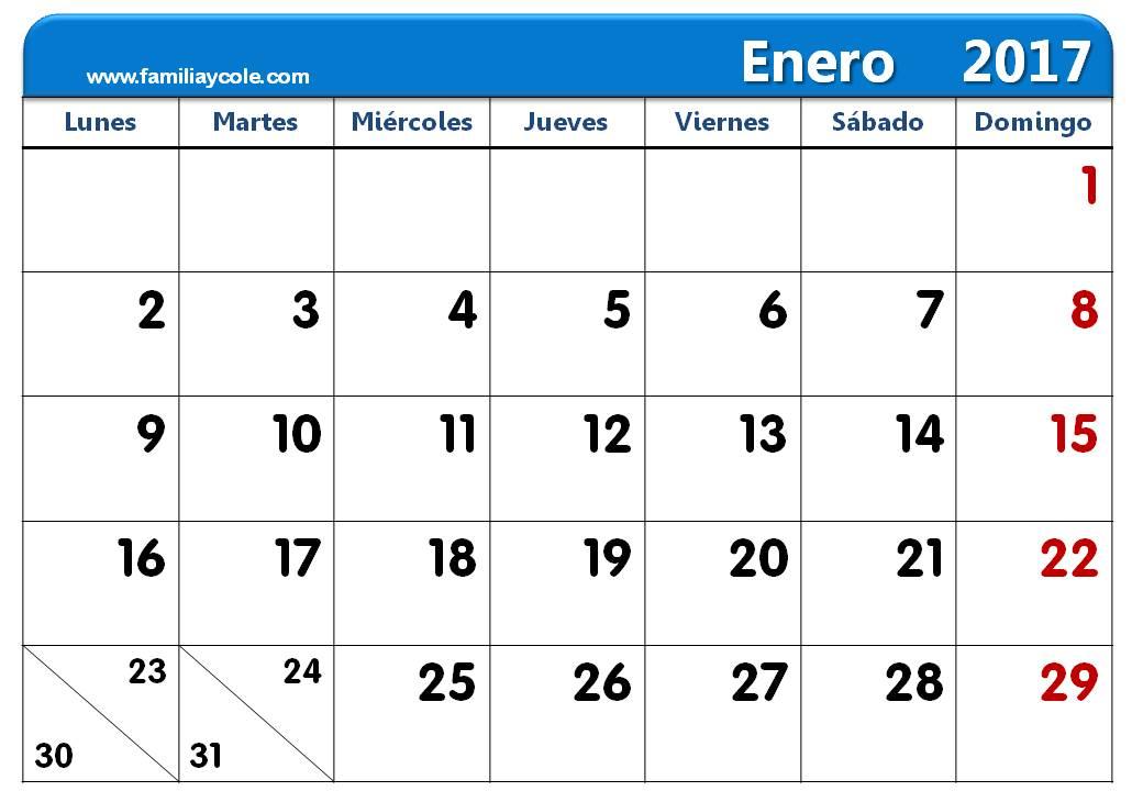 calendario 2017 para imprimir mes de enero