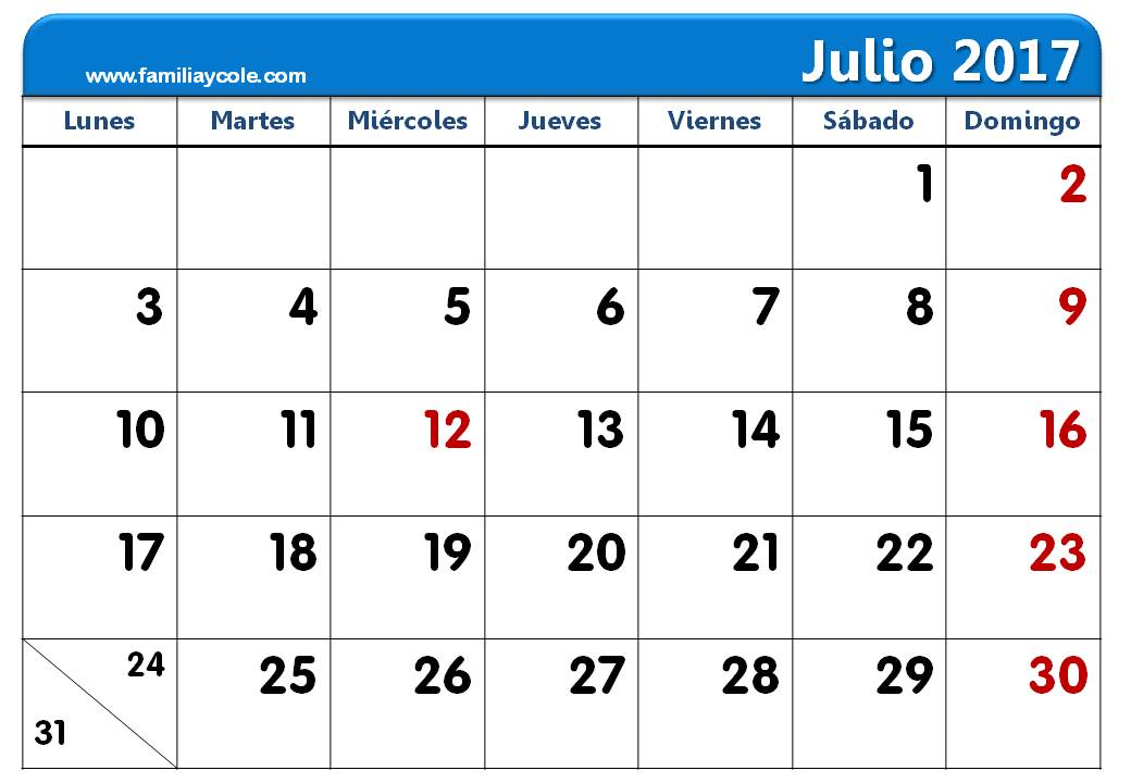 calendario 2017 para imprimir mes de julio