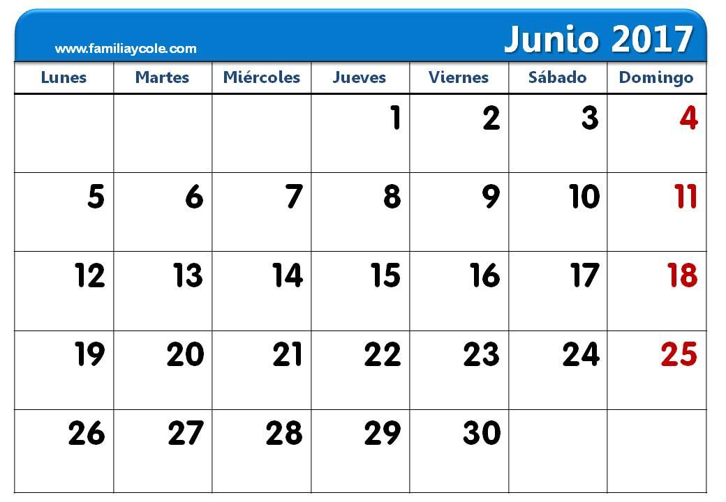 Calendario 2017 para imprimir mes de junio 2017