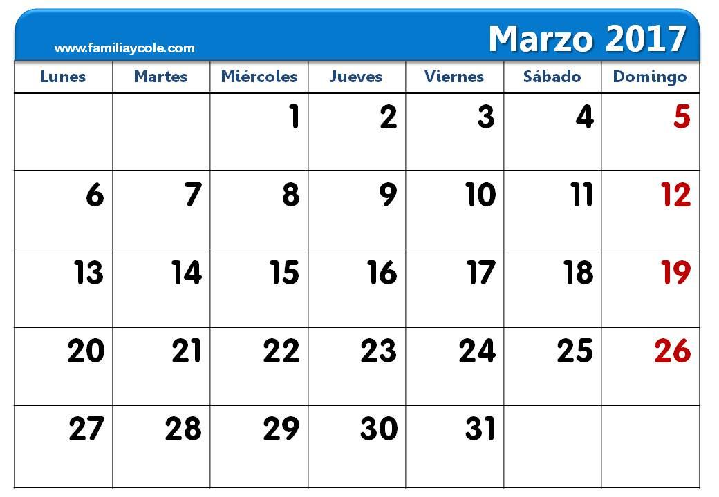 Calendario 2017 para imprimir mes de marzo 2017