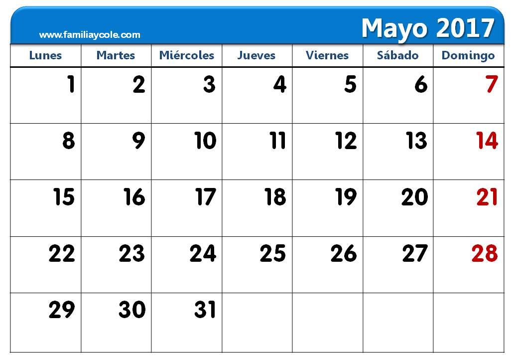 Calendario 2017 para imprimir mes de mayo 2017