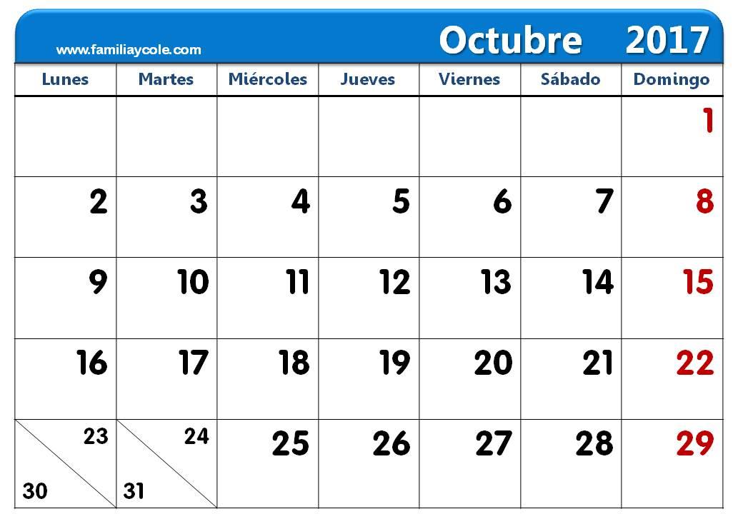 calendario 2017 para imprimir mes de octubre