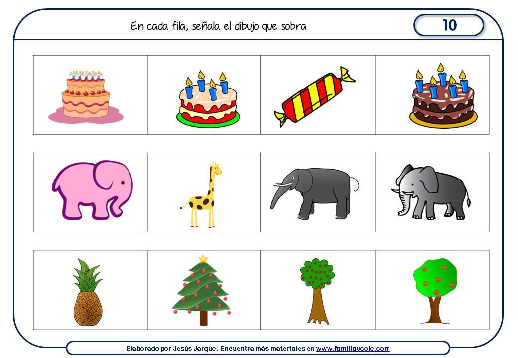 Fichas de razonamiento para niños para Educación Infantil