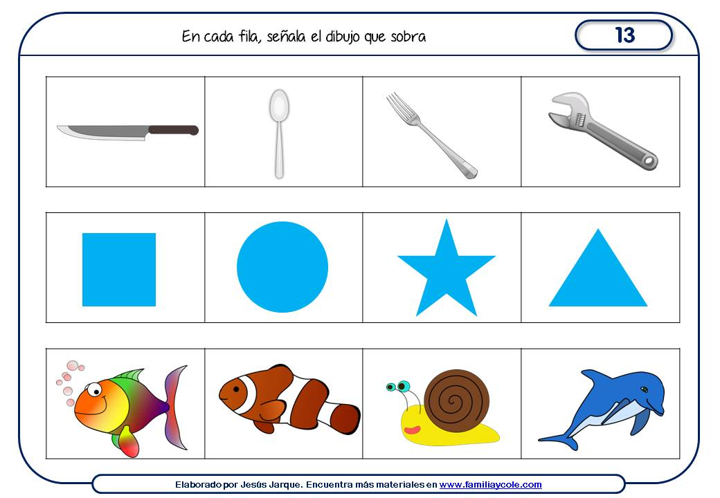 Fichas de razonamiento para niños para Educación Primaria