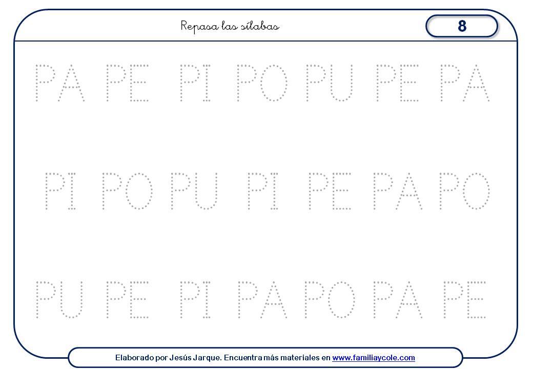 Fichas de escritura de letras, P mayúscula pequeña sílabas