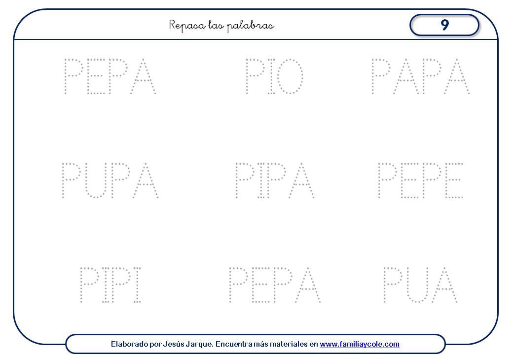 Fichas de escritura de letras, P mayúscula pequeña palabras