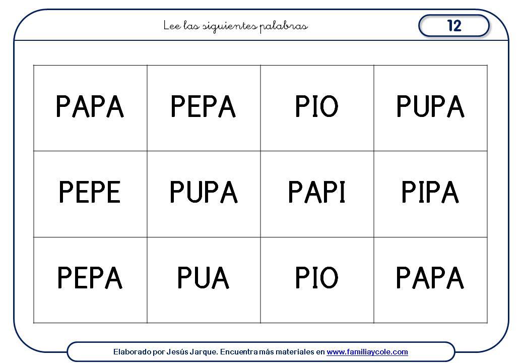 Fichas de escritura de letras, P mayúscula, lectura de palabras