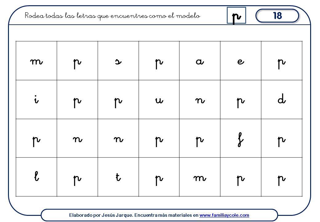 Fichas de escritura de letras, P minúscula discriminación visual