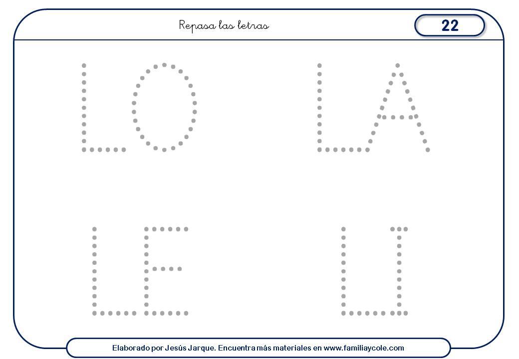 Fichas de escritura de letras, L mayúscula, sílabas