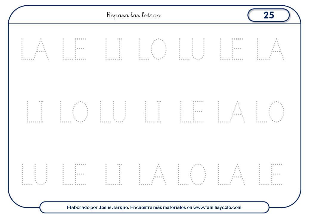 Fichas de escritura de letras, L mayúscula sílabas medianas