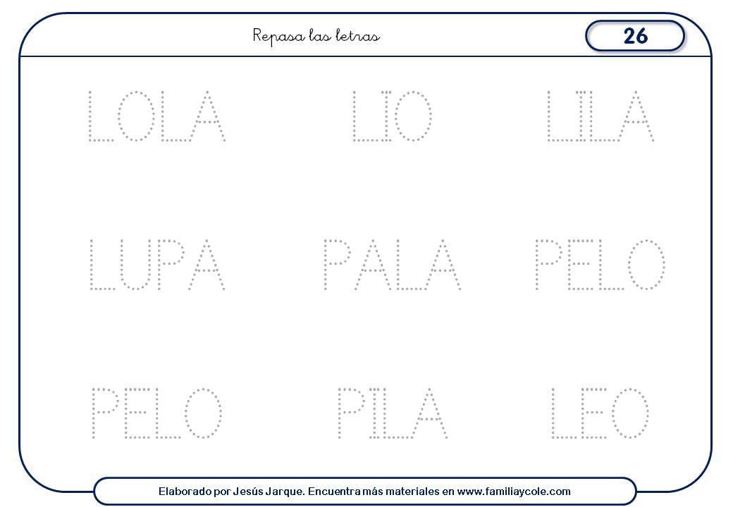 Fichas de escritura de letras, L mayúscula palabras medianas