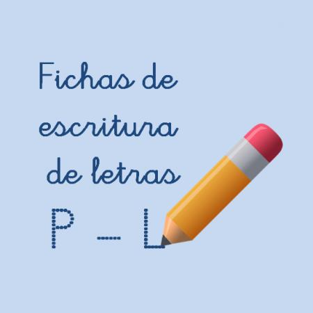 Fichas de escritura de letras para niños. La letra P y L, mayúscula y minúscula, por Jesús Jarque