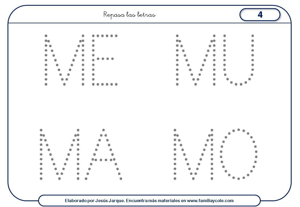 Fichas para escribir letras, M mayúscula con puntitos