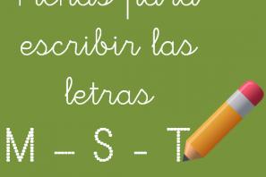 Fichas para escribir letras M - S - T mayúsculas y minúsculas