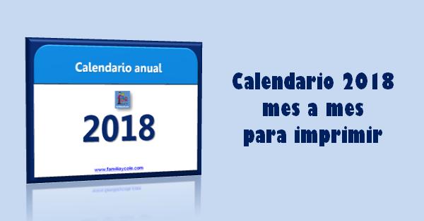 Calendario 2018 mes a mes para imprimir