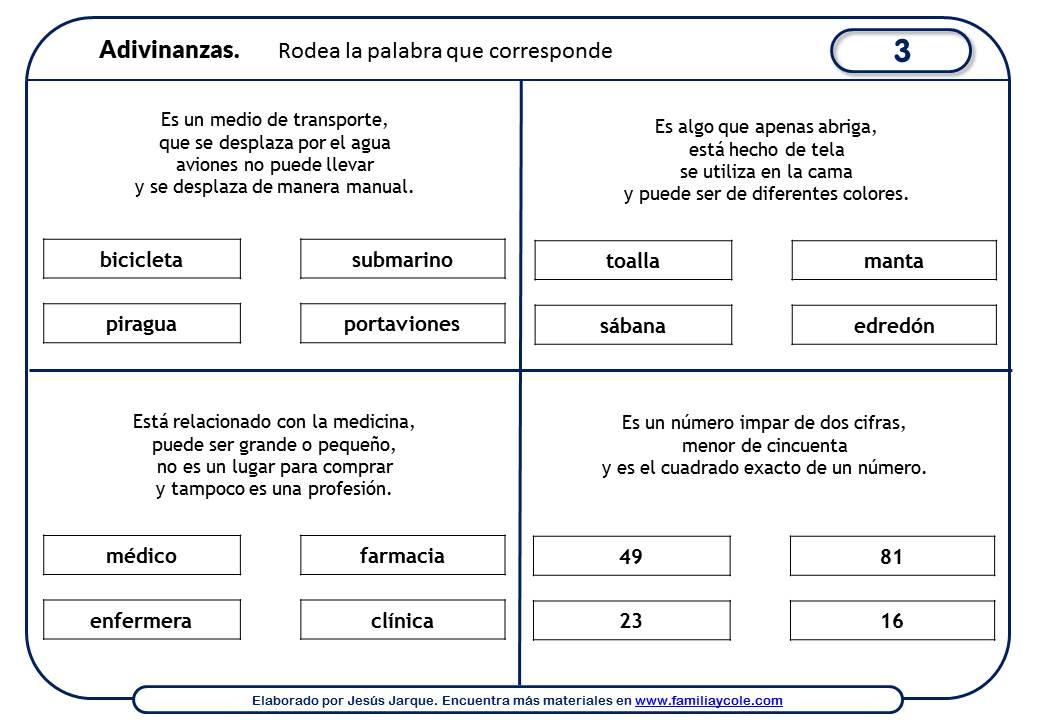 Ficha 3 Adivinanzas para niños de Primaria