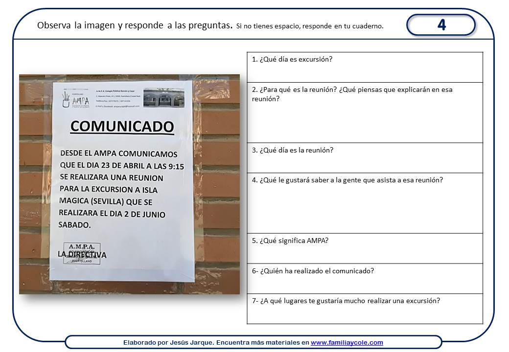 Fichas de comprensión lectora con publicidad para imprimir