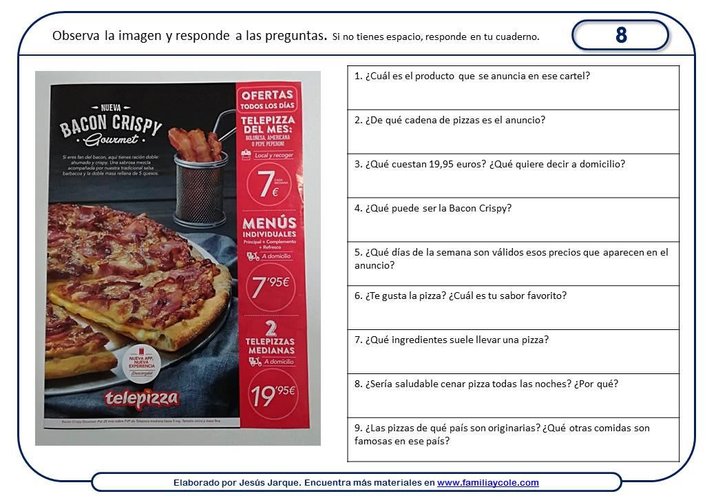 Fichas de comprensión lectora con publicidad
