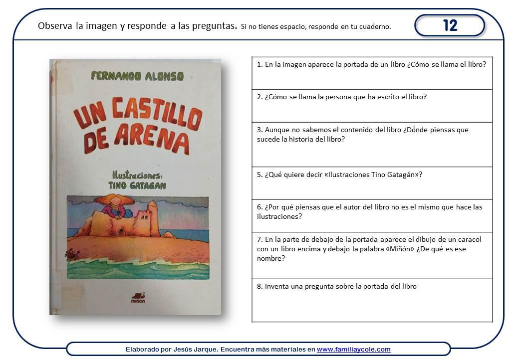 Fichas de comprensión lectora con publicidad de Familia y Cole