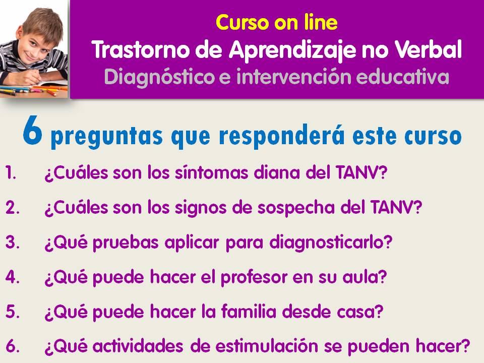 Contenidos del curso on line sobre el Trastorno de Aprendizaje No Verbal, TANV de Jesús Jarque