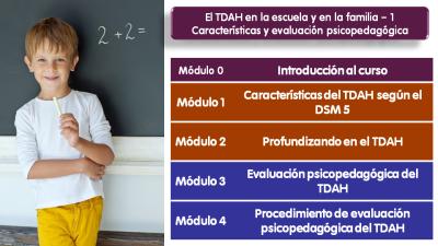 Módulos curso on line evaluación psicopedagógica en el TDAH