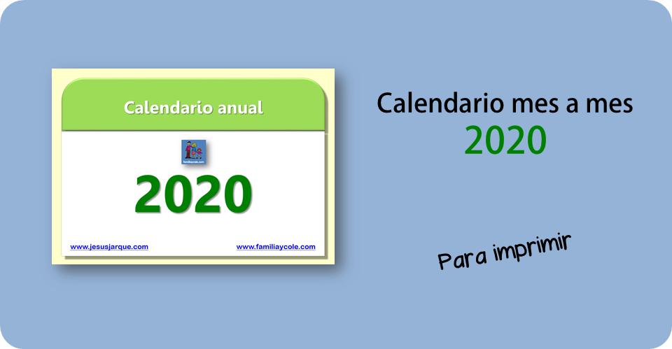Calendario 2020 para imprimir de Familia y Cole