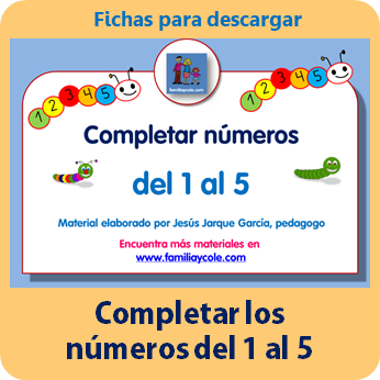 Fichas para completar números del 1 al 5 para descargar en PDF de Jesús Jarque